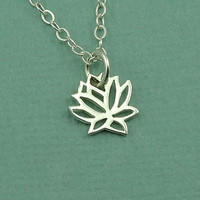 Tiny Lotus Necklace - sterling silver christmas jewelry - charm necklace - gift