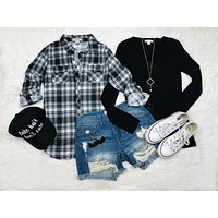 Penny Plaid Flannel Top: White/Black