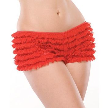 Ruffle Shorts W-back Bow Detail Red Xxl