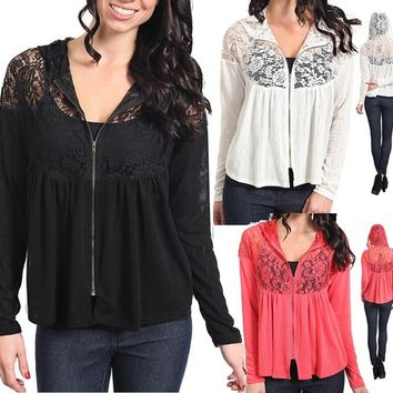 Sexy Womens Long Sleeve Lace Sheer Light Hoodie Cardigan Jacket Top BLouse S,M,L