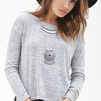 FOREVER 21 Long-Sleeved Marled Top