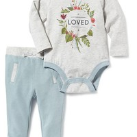 Old Navy 2 Piece Bodysuit And Joggers Set For Baby