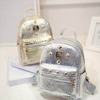 2016 New Fashion Women Student Shoulder School Bag Travel Backpacks silver gold whole free shipping
