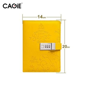 CAGIE 2016 Diary With Lock Pu Leather Cute Travel Journal Women/Girl's Secret Garden Binder Notebook Flower Paper Sketchbook
