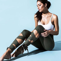 Fashion Casual Solid Color High Waist  Crisscross Bandage Sports Yoga Leggings Pants Sweatpants