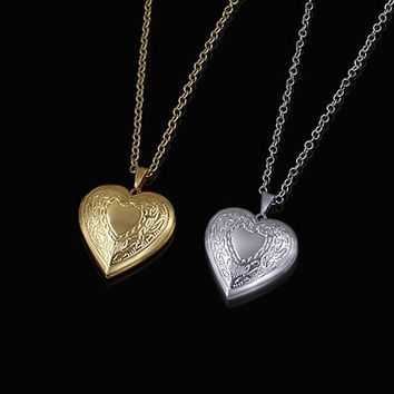 Brand heart locket necklace gold color