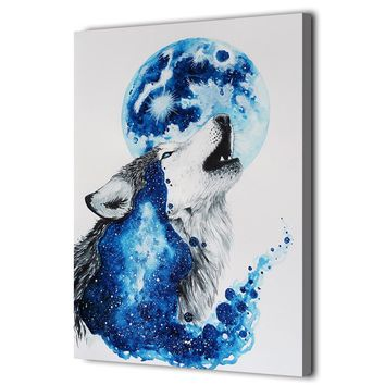 Abstract Blue Wolf Print Wall Art on Canvas Pictures