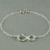 Cute INFINITY Bracelet, Fine Silver Charm, Sterling Silver Double Chain, Pretty, Simple, Everyday Wear Bracelet