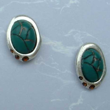 Chico's Faux Green Turquoise Egyptian Style Scarab Earrings Rhinestone