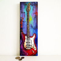 Original gift for musician Guitar painting  Modern Guitar Art Original colorful mini painting on 12'' x 4'' canvas by Magier