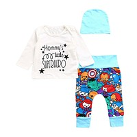 2Pcs Baby Clothing Fashion Newborn Infant Baby Boys Long Sleeve T Shirt + Pants Leggings Outfits Clothes