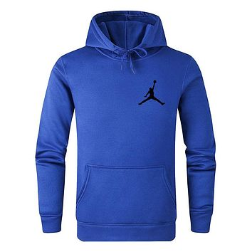 Jordan Autumn Winter Women Men Print Long Sleeve Hoodie Sweater Top Sweatshirt Blue
