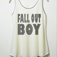 Fall out boy, tank, women tank top, off white shirt , screenprint, lady tunic