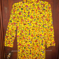 Handmade Vintage Yellow Short Dress with Oriental Print
