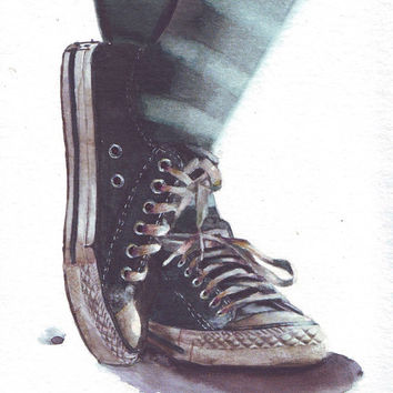 HM087 Original art watercolor painting Converse All Stars by Helga McLeod