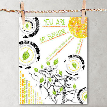 You Are My Sunshine - Poster Print 8x10 - For Your Wall Decor