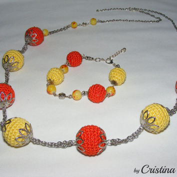 Orange jewelry set, crochet jewelry, handmade jewelry set, necklace and bracelet crocheted, silver accessories for her, jewelry woman's gift