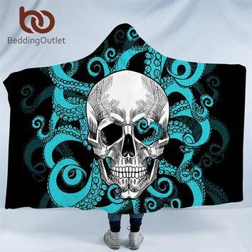 BeddingOutlet Octopus Collection Hooded Blanket Skull Tentacles Hand Sherpa Fleece Wearable Blanket Blue Red Gothic Bedding