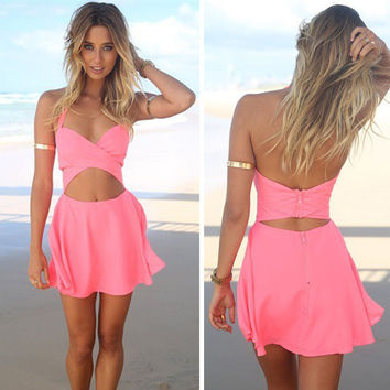 ≫∙∙Summer Boho Sexy Casual Pink Beach Dress∙∙≪