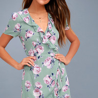 How Does Your Gardenia Grow Sage Green Floral Print Wrap Dress