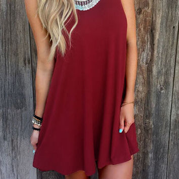 Burgundy Sleeveless Round Collar Loose Flowing Hem Mini Dress