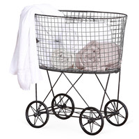 Wire Laundry Basket w/ Wheels, Laundry Hampers