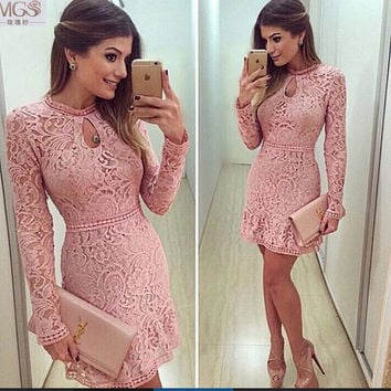New Arrival Sexy 2016 MGS Pink Lace Long Sleeves Cocktail Dresses Vestido De Festa Prom Sexy Backless Homecoming Party Gown