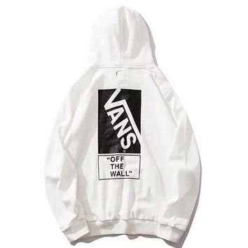 VANS 2019 new hoodie long sleeve pullover jacket sports sweater white