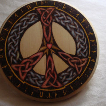 "Celtic Love and Peace Sign Wood Burned and Colored with PrismaColor Pencils on an 8"" Basswood Plaque"