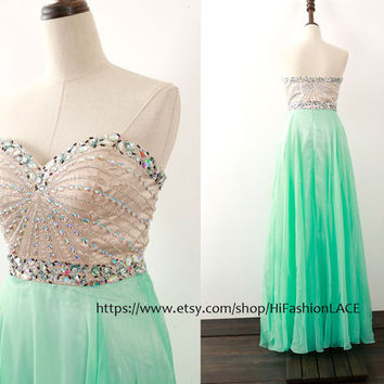 Mint Prom Dress, Strapless Long Prom Gown with Crystals, Sweetheart Floor Length Formal Dresses, Wedding Bridesmaid Dress