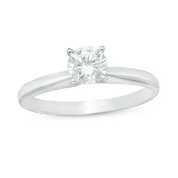 1/2 CT. Certified Diamond Solitaire Engagement Ring in 14K White Gold|Zales