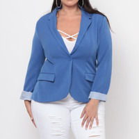 Plus Size Working Girl Blazer - Royal Blue