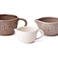 S/3 Asst Measuring Cups, Neutral Hues