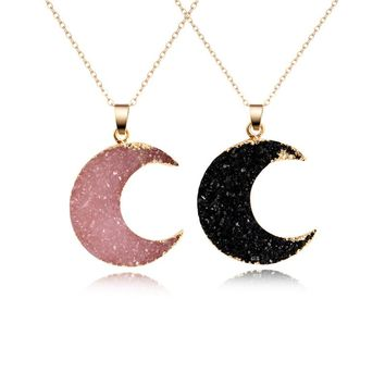 Faux Druzy Crystal Crescent Moon Necklace