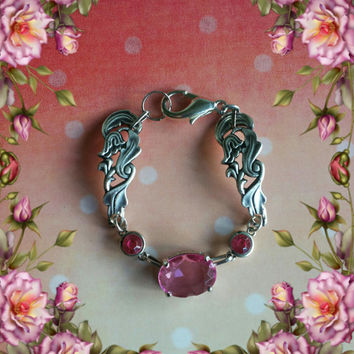 Handmade silver and pink spoon bracelet