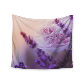 "Monika Strigel ""Peony and Lavender"" Pink Purple Wall Tapestry"