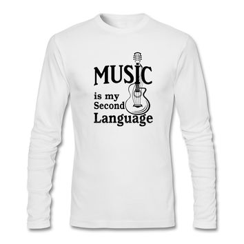 Music is My Second Language T Shirt Custom Long Sleeve Brand Clothing Hipster Couples Cotton Crewneck  T Shirts For Boys