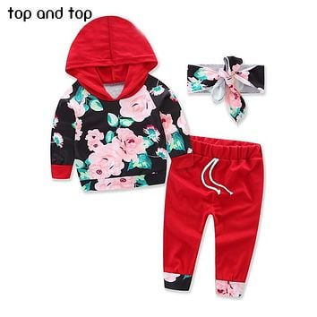 Top and Top Baby Girls Clothing Sets 2017 Winter Floral Hooded Tops Pants Headband 3PCS Baby Girls outfits Set Newborn Clothes