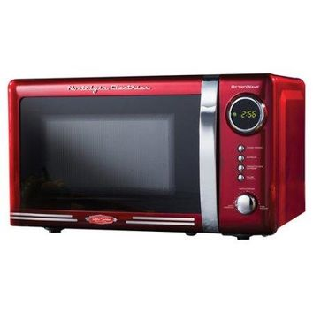 Nostalgic Retro Vintage Old Fashion CounterTop Red Microwave Oven