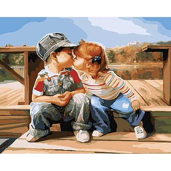 Children love r- Digital Acrylic Paint Kit Oil Painting by Numbers with Frame on Canvas Home Decor Wall Poster Gift DY004