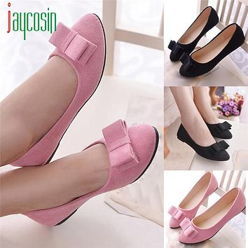 High quality Shoes Women Ballet  Work Flats Bow Tie Slip  Boat Comfortable 170224