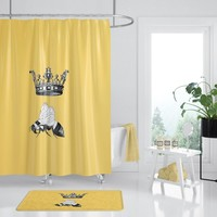 Queen Bee Shower Curtain, Yellow fabric,  lady boss, for her, yellow and black