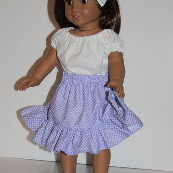 "18 inch Doll Clothes,  Skirt, Peasant top, and Shoes Strappy Ballerina Flats Doll Shoes Fit 18"" dolls like American Girl"