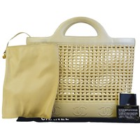Authentic CHANEL Triple Coco Tote Hand Bag Straw Leather Beige France 29BC555
