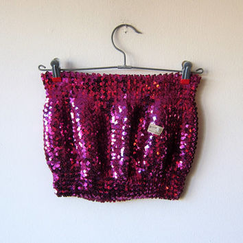 80s Glam Rock Disco Pink Magenta Sparkle Sequin Stretchy Tube Top -- NEW WITH TAGS!