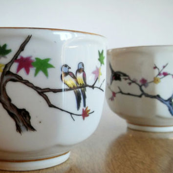 Republic of China Taiwan Teacup Mug Hand Painted, ROC Cherry Blossom Tree Bird Design
