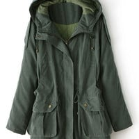 ROMWE | Buttoned Hooded Army-green Coat, The Latest Street Fashion