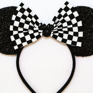 Black Sparkly Minnie Ears with Checkers Bow