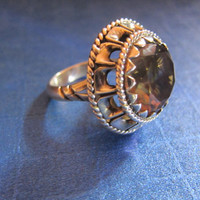 Smoky Quartz Sterling Silver Ring Vintage 1980's