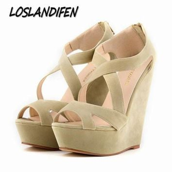 LMFON loslandifen brand new women s pumps high heels sandals shoes women wedge peep toe plat  number 1